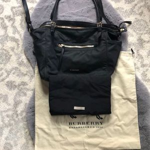 Burberry Bags - Burberry Black Nylon Diaper Bag with leather trim